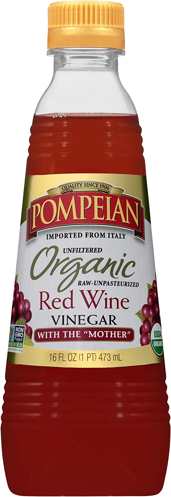 Pompeian Organic Red Wine Vinegar - 16 Ounce (Pack of 6)