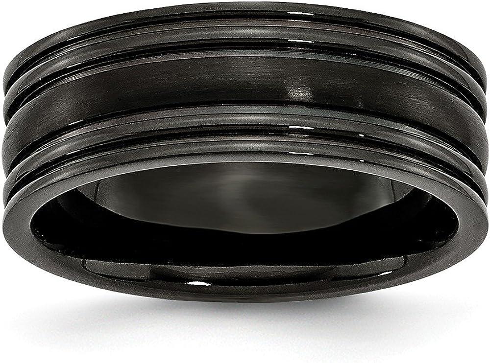 9.5 Size Titanium Jay Seiler Titanium Grooved Black IP-Plated 8mm Brushed and Polished Band
