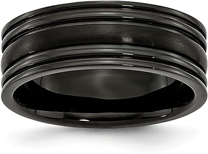 Titanium Grooved 8mm Black Ip-plated Polished Band Best Quality Free Gift Box