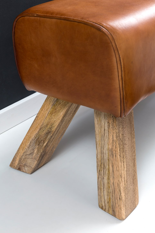 Lederhocker mit Holzbeinen Garderobenbank Echtes Leder FineBuy Design Sitzhocker FB45549 Holz 90x30x43 cm Leder Modern Springbock Springbock Turnbank Gepolstert Massivholz Hocker mit Leder