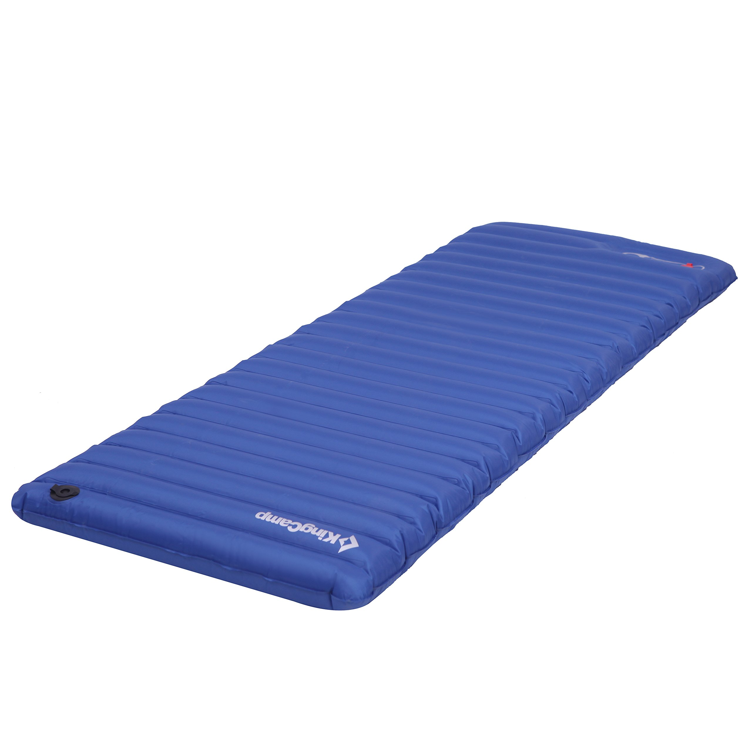 KingCamp Light Single Outdoor Camping Air Mattress Mat Pad Bed with Built-in Foot Pump, Blue, Single