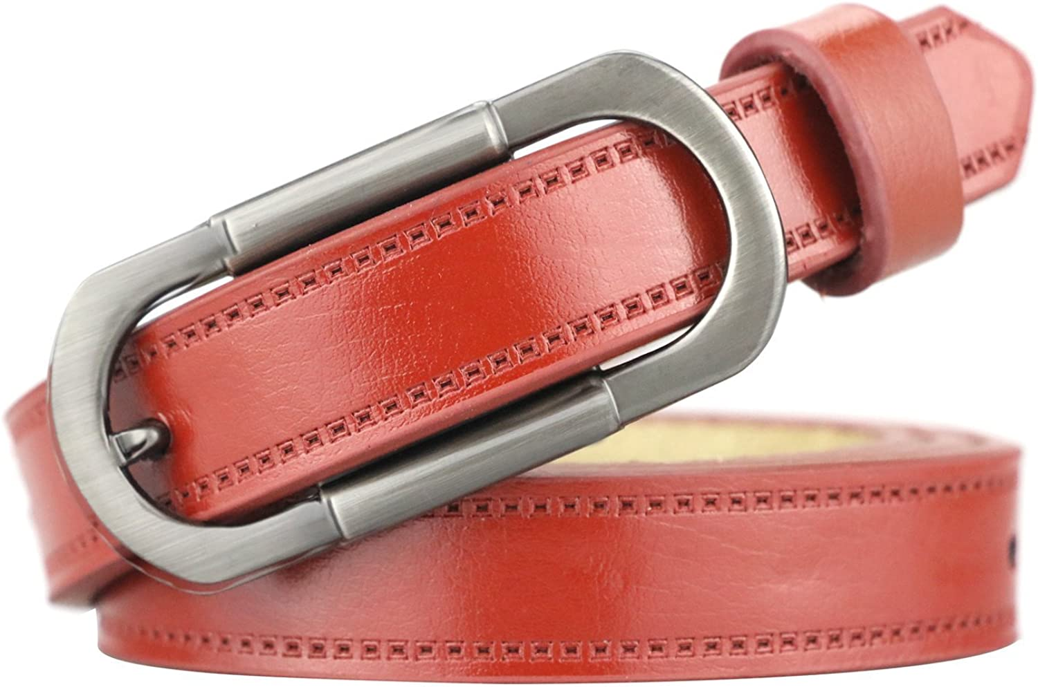 Maikun Womens Leather Skinny Belt with Double Ring Alloy Buckle Adjustable Waist for Dress Pants Valentines Day