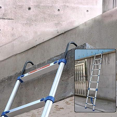 FF Escaleras Telescópicas Multifunción Multiusos de Aluminio Escalera telescópica con Ganchos, Escalera Plegable de extensión telescópica de Ingeniería Exterior Loft, 330lbs de Apoyo: Amazon.es: Hogar