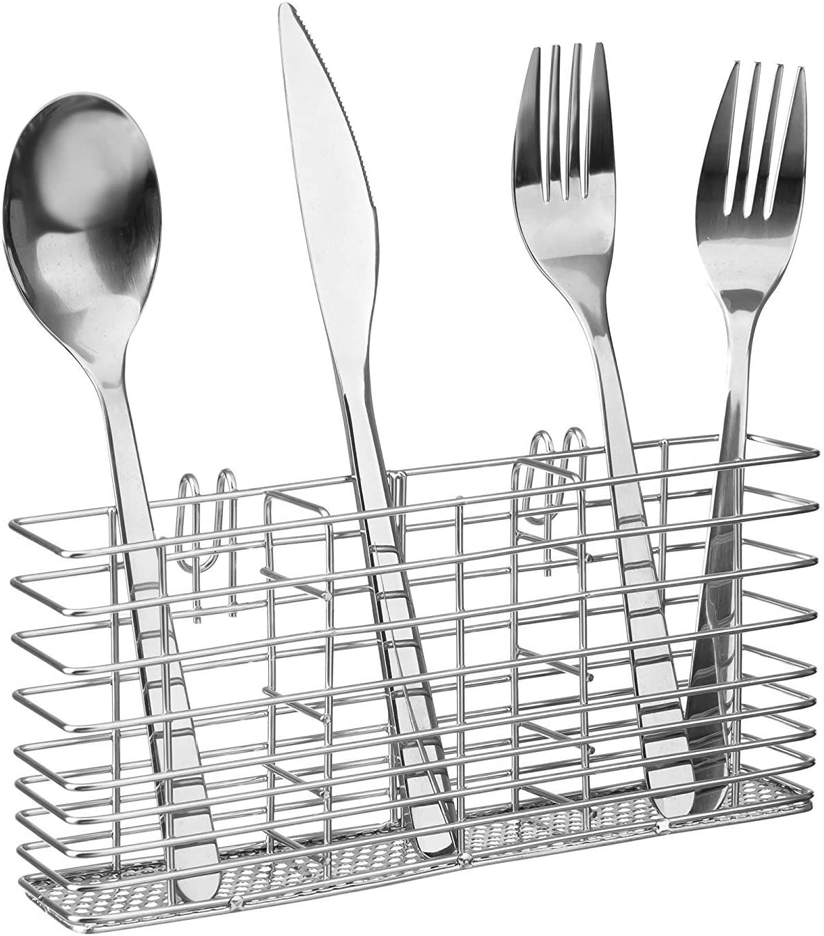 SANNO Stainless Steel Cutlery Utensil Holder Silverware Organizer Rack with Hooks Removable Drying Rack Silverware Holder Utensil Cutlery Basket Kitchen Dish Drainer Dish Drying Rack