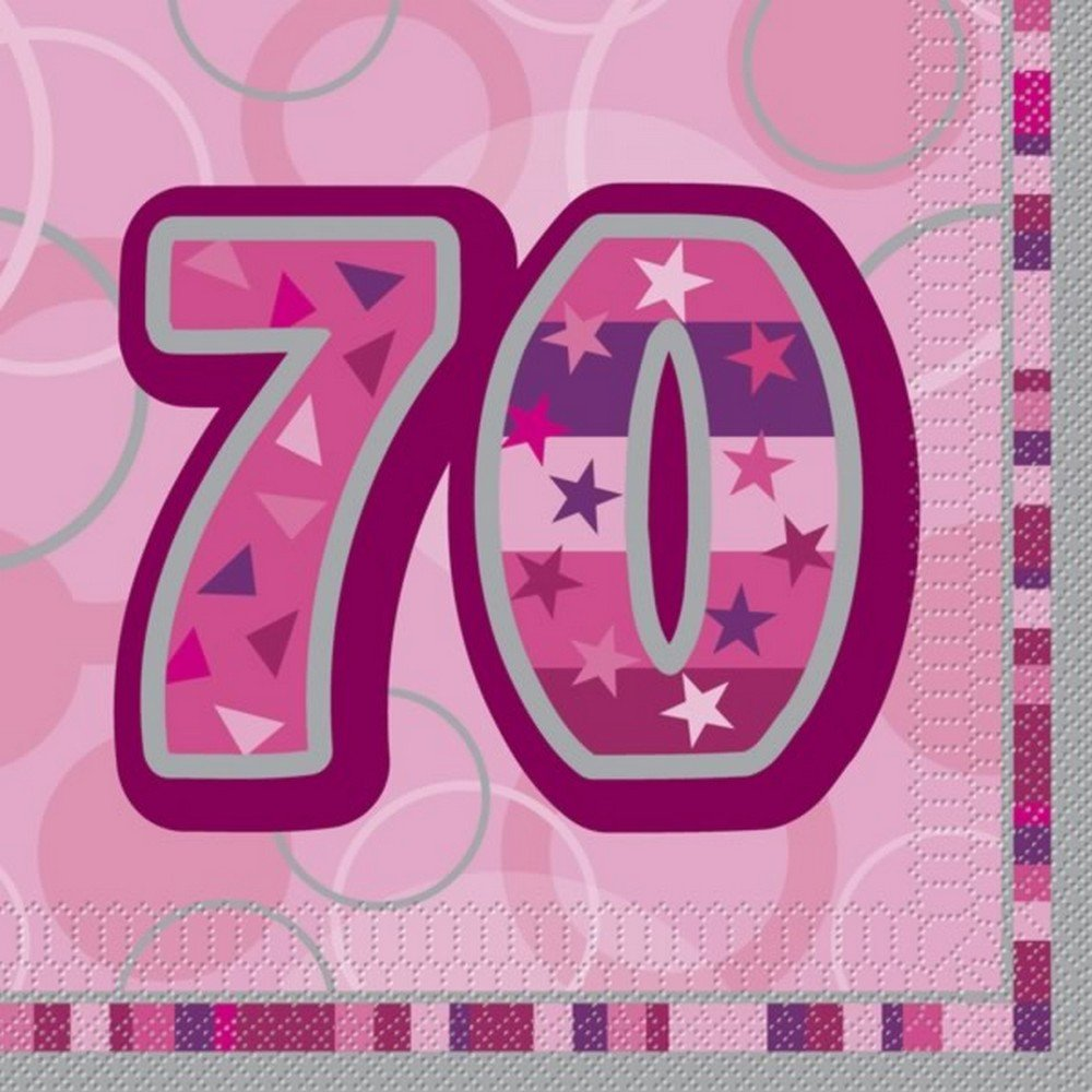 Unique Party Pink Glitz Lunch Napkins - 70 (One Size) (Pink) by Universal Textiles
