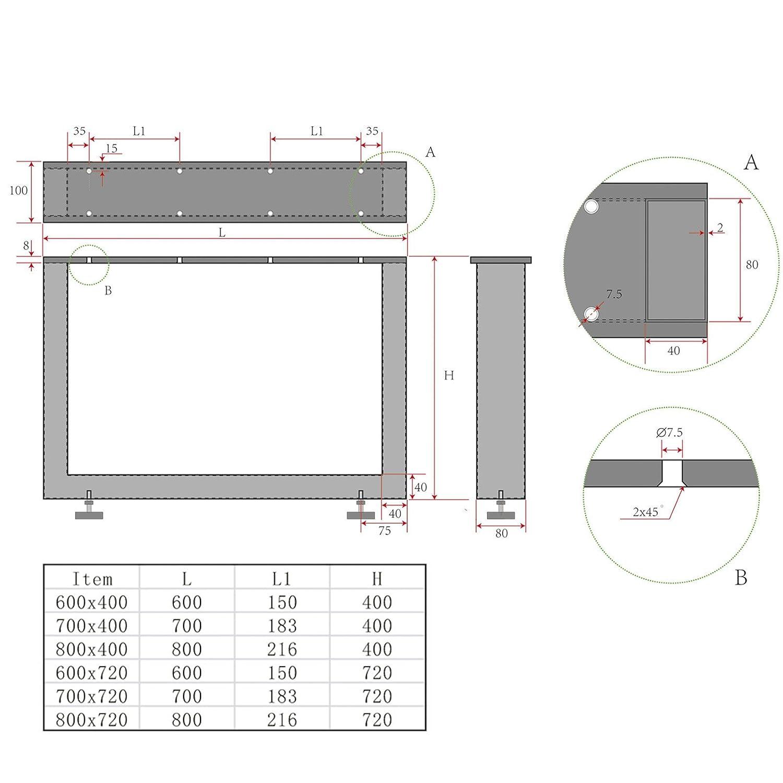 720 mm//Profondit/à Telaio per Tavoli KUFE VERO Acciaio Inox//Profilo 80 x 40 mm//Altezza 700 mm Altezza Regolabile Base per Tavolo Piedistallo Gamba da Tavolo Piede da Tavolo di SO-TECH/®