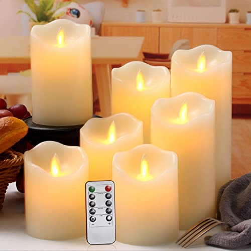 Flameless Candles Flickering Battery Operated LED Candles Set of 7 D 3 X H 4 4 5 5 6 7 8 Ivory Real Wax Pillar with Moving Flame 10-Key Remote Control and Cycling 24 Hours Timer