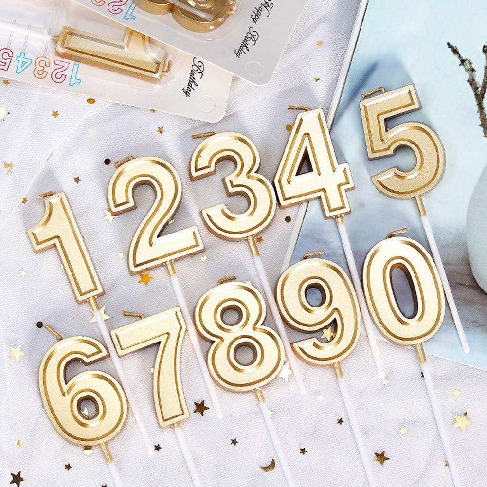 faddy-1 Bougies Num/éro 0-9 10 Pi/èces Bougies danniversaire Paillettes dor pour Anniversaires Anniversaires De Mariage C/ér/émonies De Remise des Dipl/ômes F/ête Or