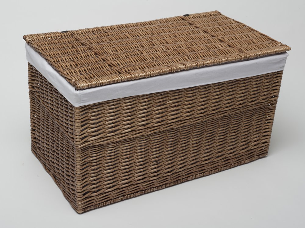 Large White Storage Trunk Willow Wicker Style Toy Chest Blanket Box With Lid NEW