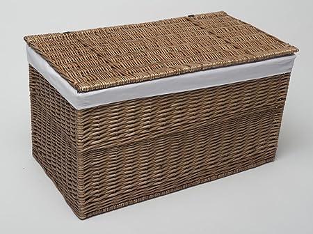 Storage Trunk Extra Large 90cm Honey Wicker Blanket Box Chest & Storage Trunk Extra Large 90cm Honey Wicker Blanket Box Chest ...