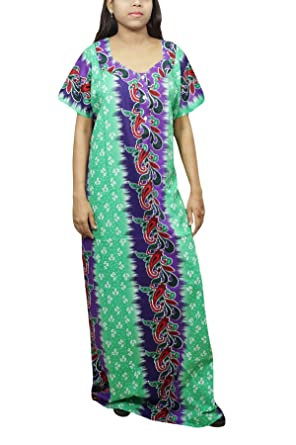 Indiatrendzs Women Nightgown Nighty Floral Printed Cotton Maxi Dress (Green  Blue)  Amazon.in  Clothing   Accessories 1a3d9d962