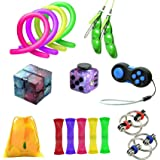 ZCOINS Fidget Toy Pack, Fidget Dice Infinity Cube Flippy Chain Pea Pod Marble Fidget and Stretchy String