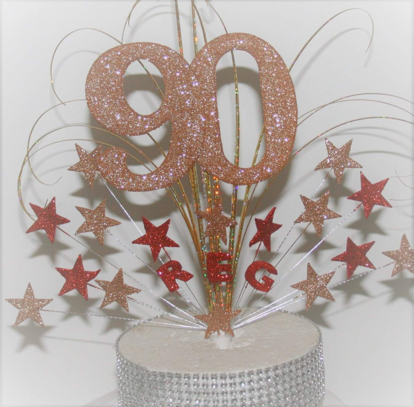 Large Number stars on wires Cake Topper Cake Decoration personalised 16th 18th 21st 30th 40th 50th 60th 70th 80th 90th any age any colours 008