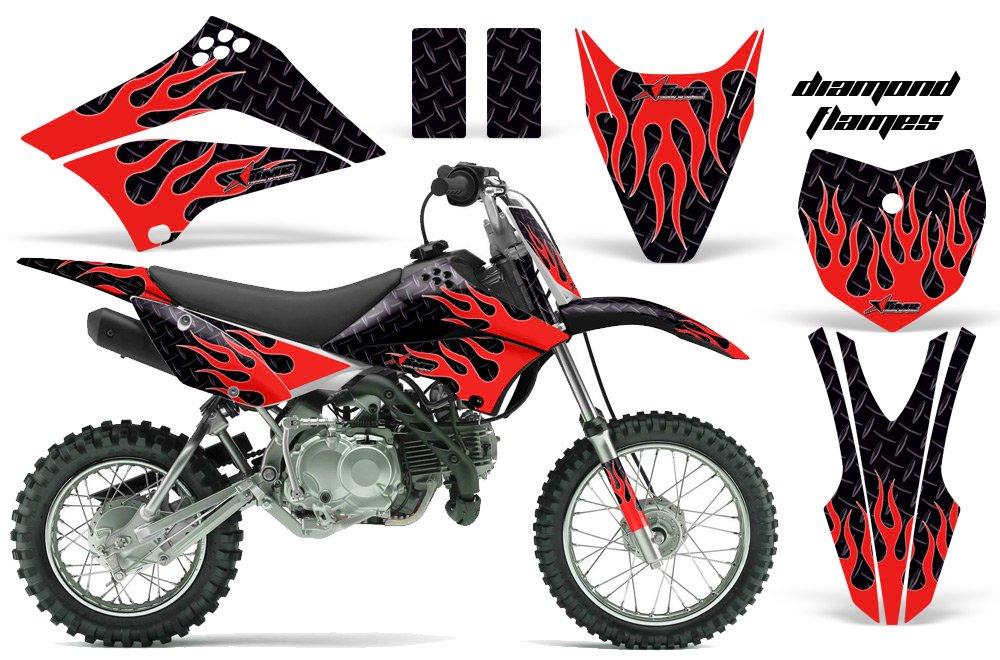 カワサキklx110l 2010 – 2018 MXダートバイクグラフィックキットステッカーデカールKLX 110 Lダイヤモンド炎レッド   B075NW3ZQR