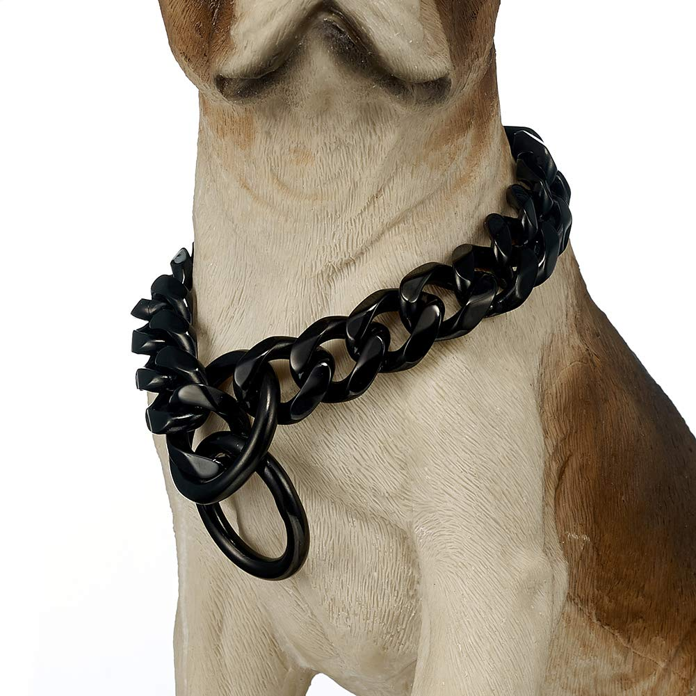 FANS JEWELRY 19mm Black Strong Stainless Steel Big Dog Choke Chain Collar Curb Necklace for Pit Bull, Mastiff, Bulldog, Big Breeds(24inches)