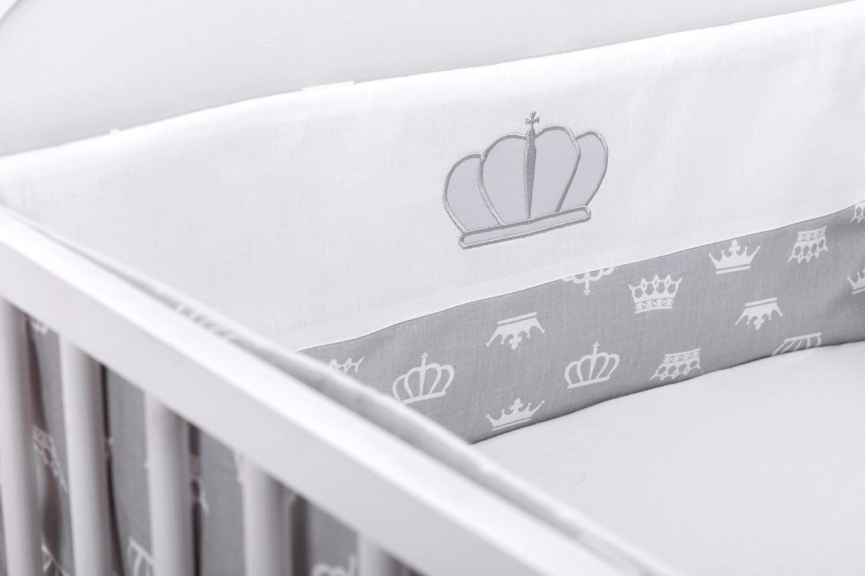 180cm Amilian/® Bettumrandung Nest Kopfschutz Nestchen Krone Grau mit STICKEREI Bettnestchen Baby Kantenschutz Bettausstattung f/ür das Babybett 120x60cm- Kopfschutz