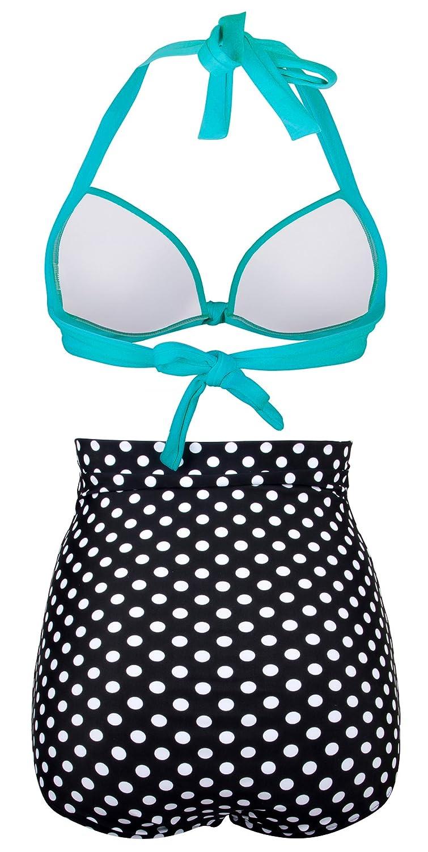 a8e00b6a280 Amazon.com: Angerella Retro Vintage Polka Dot High Waisted Bathing Suits  Swimwear(BKI053-L1-XXXL) Light Blue: Clothing