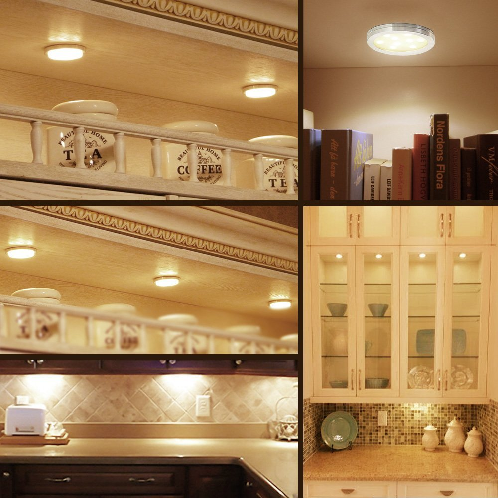 Buy le led under cabinet lighting kit 510lm puck lights 3000k buy le led under cabinet lighting kit 510lm puck lights 3000k warm white all accessories included kitchen closet lights set of 3 online at low prices aloadofball Choice Image