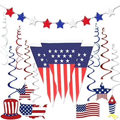 4th of July Decorations , Fourth of July Patriotic Party Decorations Supplies, Pack of 14 | Include 1 American USA Polyester Bunting Pennant, 12PCS Foil Hanging Swirls, 1 Felt Red White Blue Star Banner Garland: Toys & Games