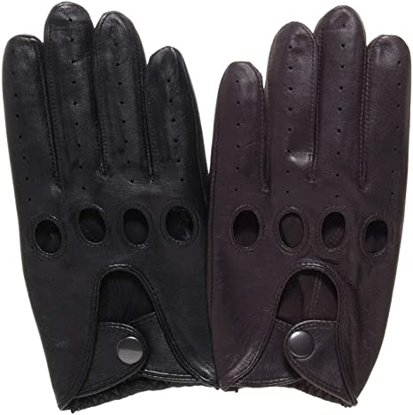 Men/'s Driving Black leather Gloves  Size Medium