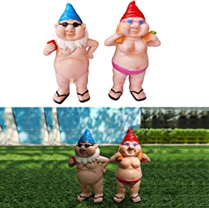 kekafu 2PCS Garden Knomes Figurines Peeing Gnome Naughty Garden Gnome Naked Resin Garden Statues for Lawn Indoor or Outdoor Decorations 6.1 Inch Tall Men and Women Miniature Statues