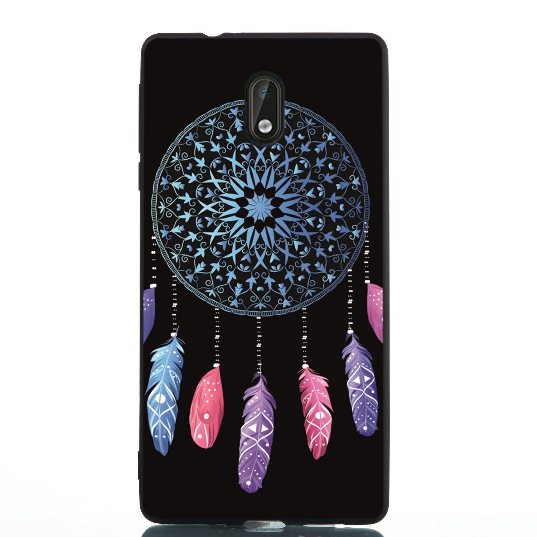 de-Meet Coque Nokia 3, Antidérapant Transparent TPU Silicone Gel Housse Étui Protecteur Cover Case Souple Ultra Mince Coque pour Nokia 3 - Jour rouge Me-50412