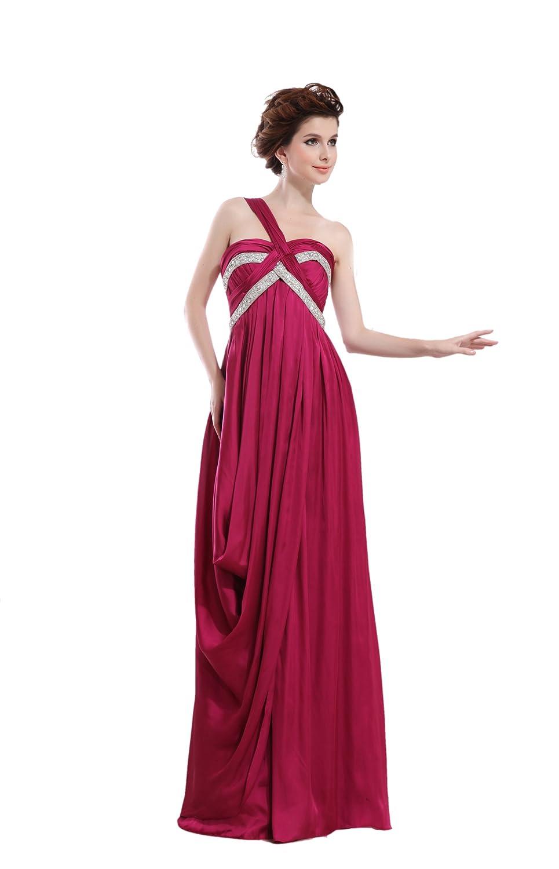 Dresstells Glamourös Damen Kleider Bodenlang Satin Abendkleider Ballkleider mit Ein-Träger