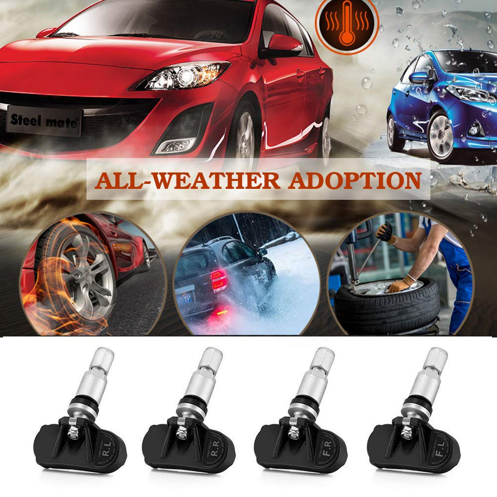 TPMS Tire Pressure Monitoring System Solar Power Universal Wireless Car Alarm System LCD Display with 4 Internal Sensors Solar Power/_Internal TPMS