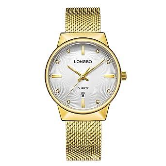 LONGBO Luxury Womens Gold Metal Mesh Strap Analog Quartz Business Watch Auto Date Calendar Couple Dress
