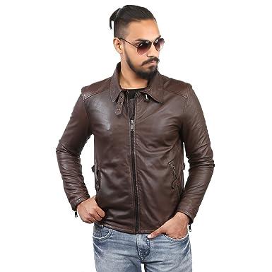 Bareskin Men S Shirt Style Collar Brown Leather Jacket Amazon In