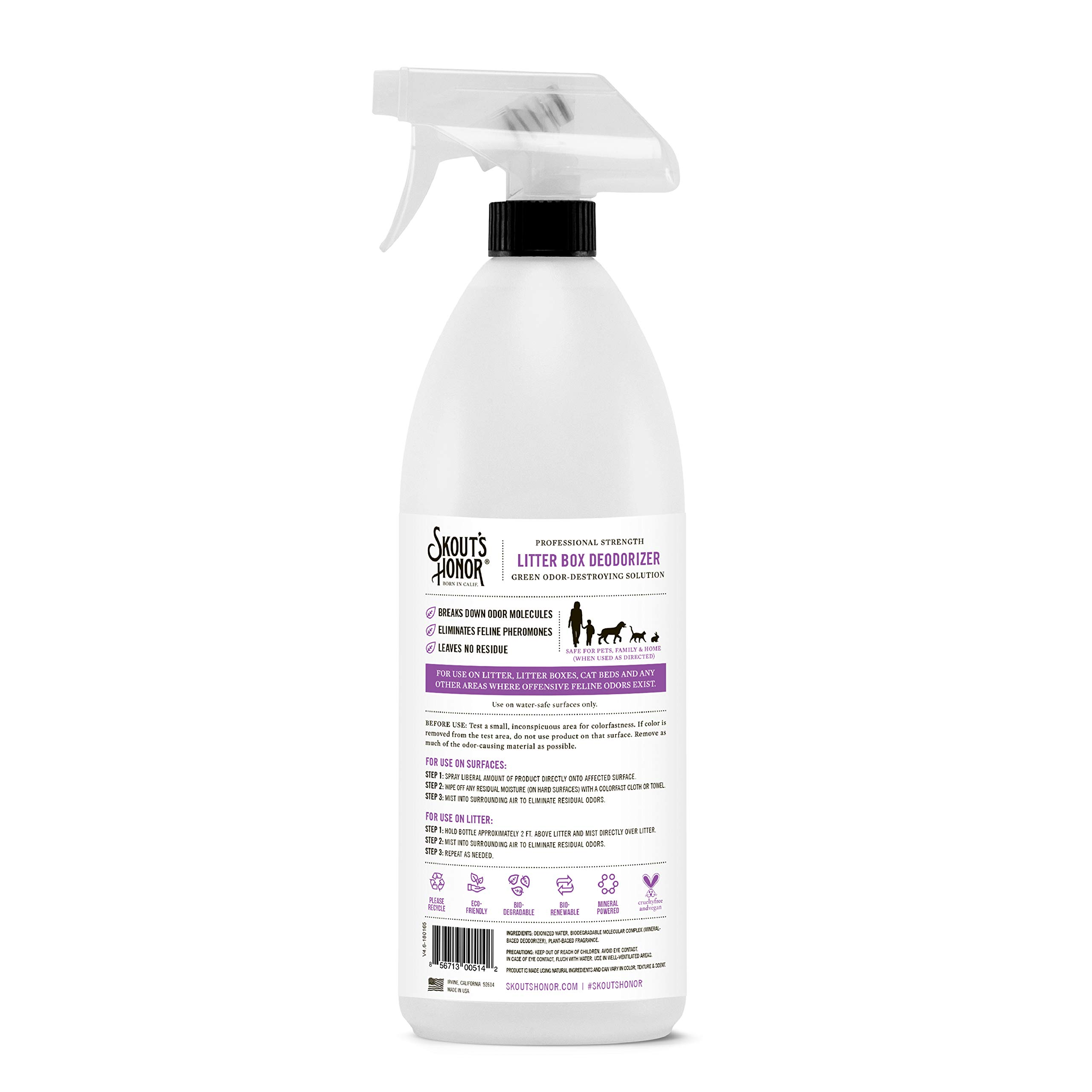 Skout's Honor Professional Strength, All-Natural Cat Litter Box Deodorizer - Non-Toxic, Biodegradable, and Eco-Friendly - Destroys Foul Odor Molecules On Contact - 32-Ounce Spray Bottle by SKOUT'S HONOR (Image #3)