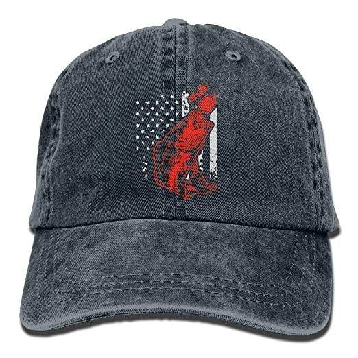 90278ff00b9 Image Unavailable. Image not available for. Color  Baseball Jeans Cap Bass  Fish USA Flag-1 ...