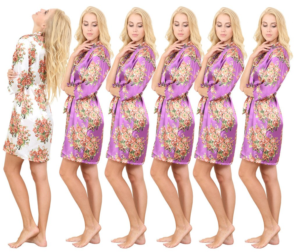 Set of 6 Women's Satin Short Floral Wedding Robes - Bridesmaids Dressing Gown