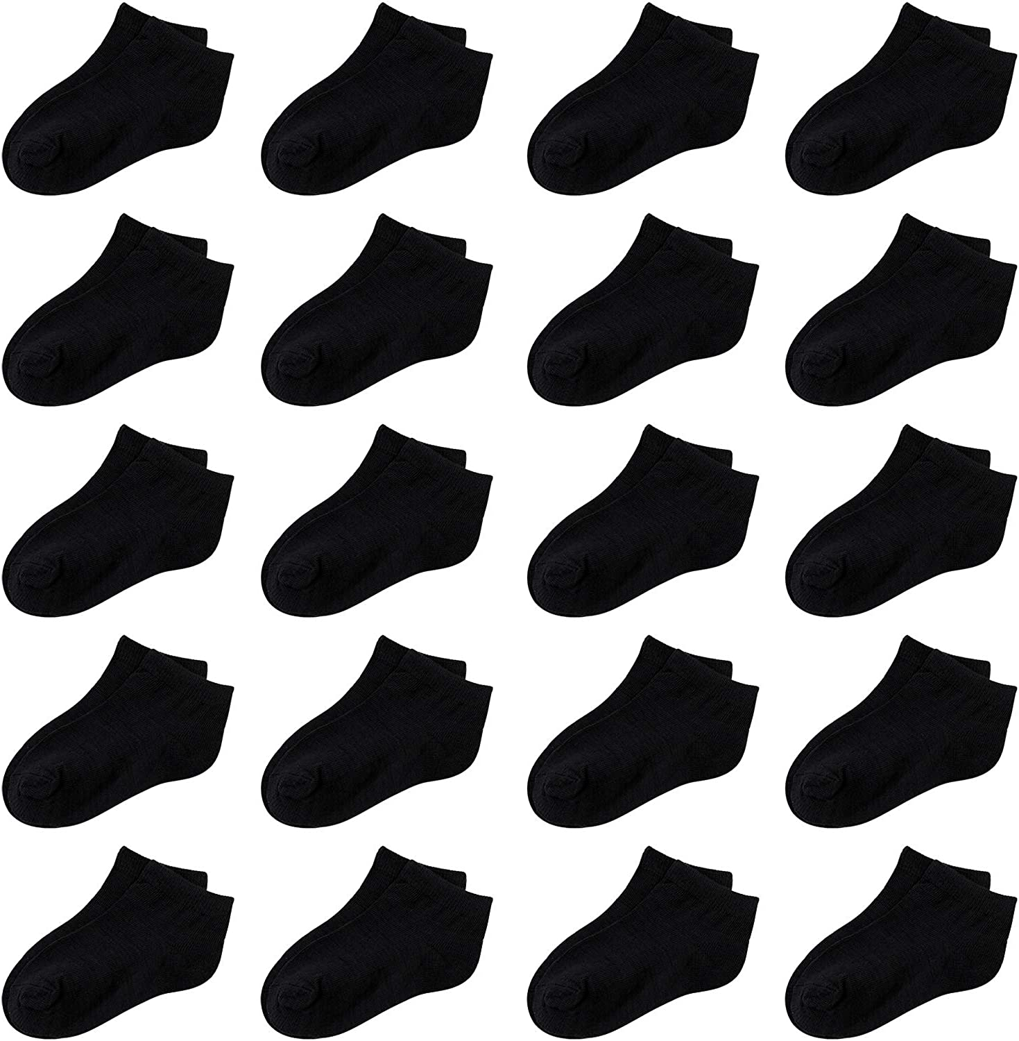 Cooraby 20 Pairs Toddler Kids Half Cushion Low Cut Soft Ankle Socks Breathable Athletic Socks