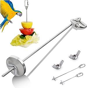 Kalevel Bird Food Holder, Bird Fruit Feeder Parrot Stainless Steel Vegetable Skewers Treat Stick Holder Foraging Toy with 2pcs Screw Nuts