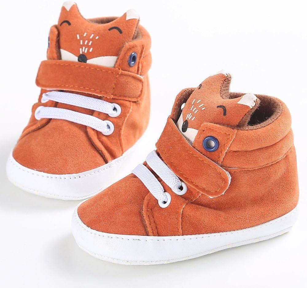 M/ädchen Jungen Babyschuhe Fox Hight Cut Schuhe rutschfeste Sneaker Weiche Sohle Krabbelschuhe Kinderschuhe Moginp ,Orange