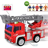 FUNERICA Toy Fire Truck with Lights and Sounds - Extendable Ladder -Powerful Friction Wheels - Mini Firetruck Toy for Toddlers and Young Kids- Bonus: 5 Fireman and Toy Figures