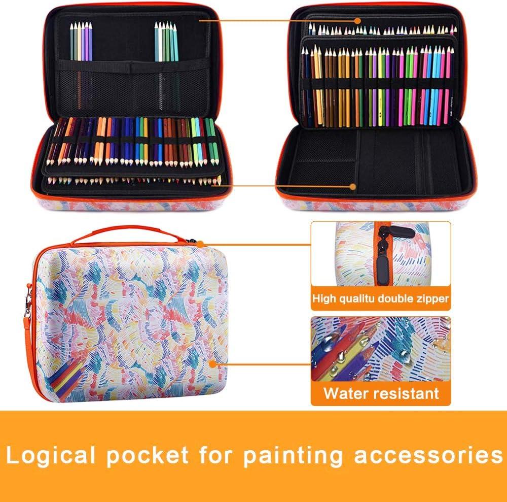 Pencil Bag Compatible with Prismacolor Colored Pencils,Watercolor Pencils,Faber Castell Colored Pencils,ARTEZA Colored Pencils Set-Flower Large Pencil Storage Case Holds 240 Colored Pencils