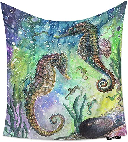 Moslion Room Art Wall Tapestry Seahorse Underwater Animal Deep Sea Ocean Horse Cool Dorm Bedroom Decor Tapestry Wall Hanging for Men Boy Girl 60W X 90H Inches
