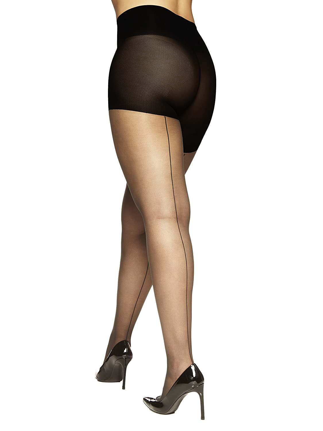 Vintage Inspired Lingerie Berkshire Womens Plus Size Luxury Queen Tummy Toner Backseam Pantyhose $16.00 AT vintagedancer.com