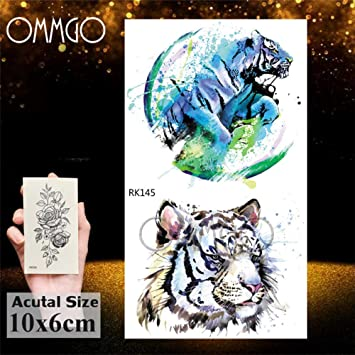 5Pcs- Gagalxy Acuarela Lion Tiger Tattoos Sticker Diamond Draw ...