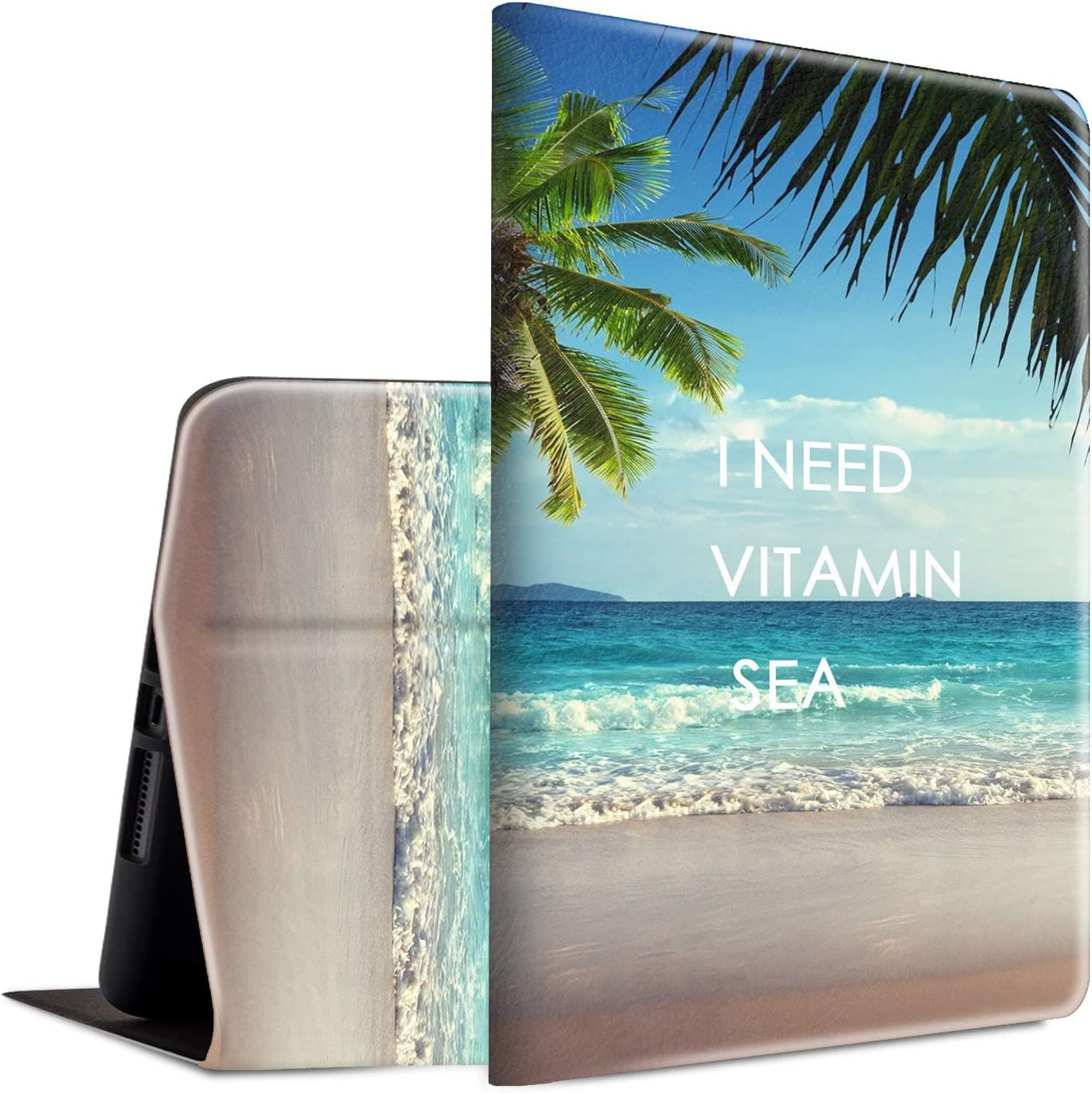 Case for New iPad 8th/7th Generation, iPad 10.2 2020/2019 Case, Spsun Lightweight PU Leather Cover Adjustable Stand with Auto Wake/Sleep Smart Protect Case - I Need Vitamin Sea Palm Tree