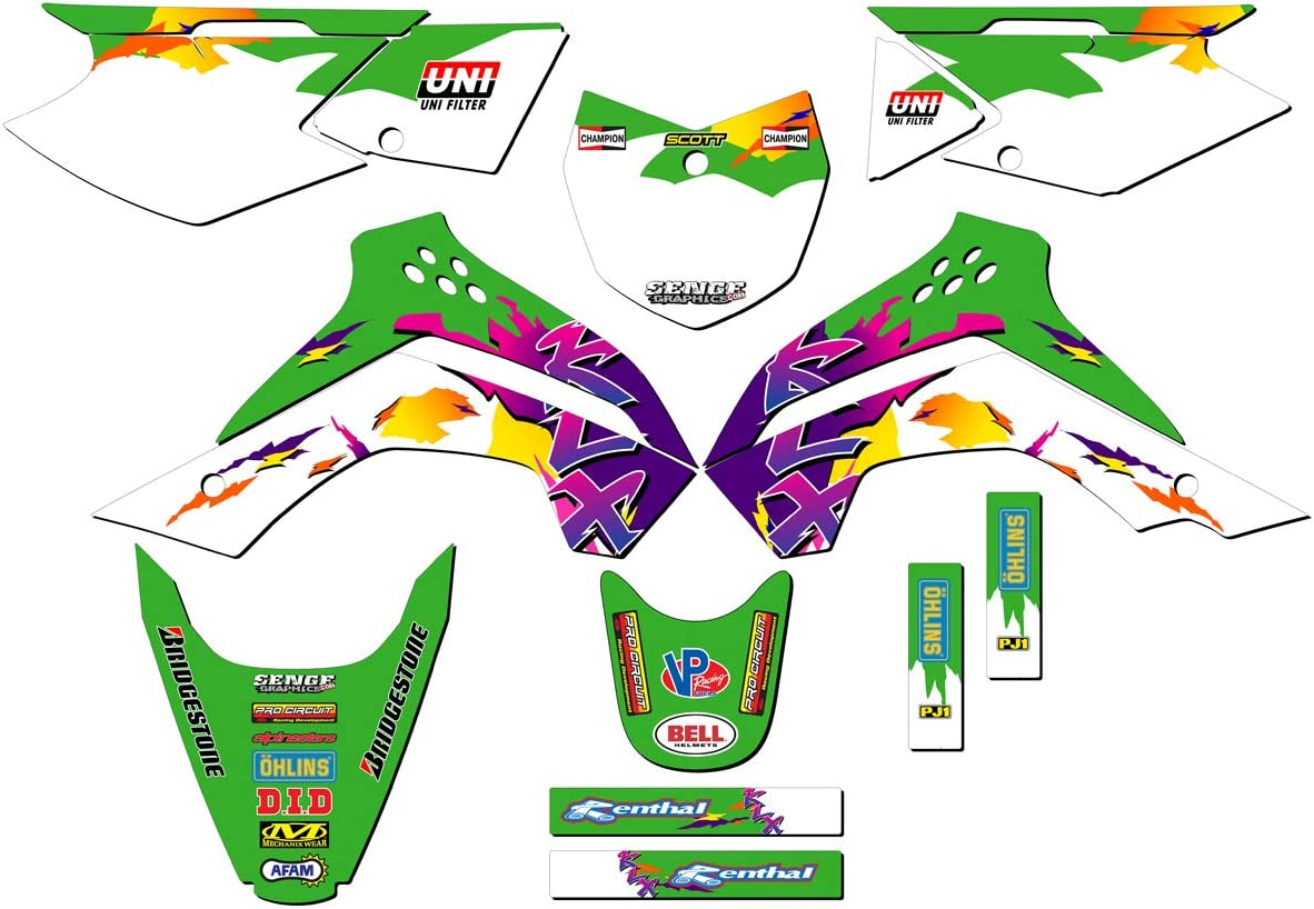 Throwback Green Base Graphics Kit compatible with Kawasaki By Senge Graphics Inc 2010-2020 KLX 110