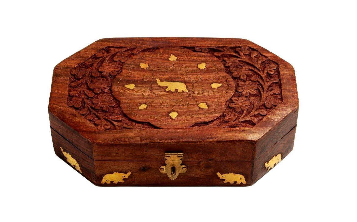 Handcrafted Wooden Jewelry Keepsake Trinket Box Home Decor Storage Box with Brass Elephant Inlays by storeindya (Image #3)