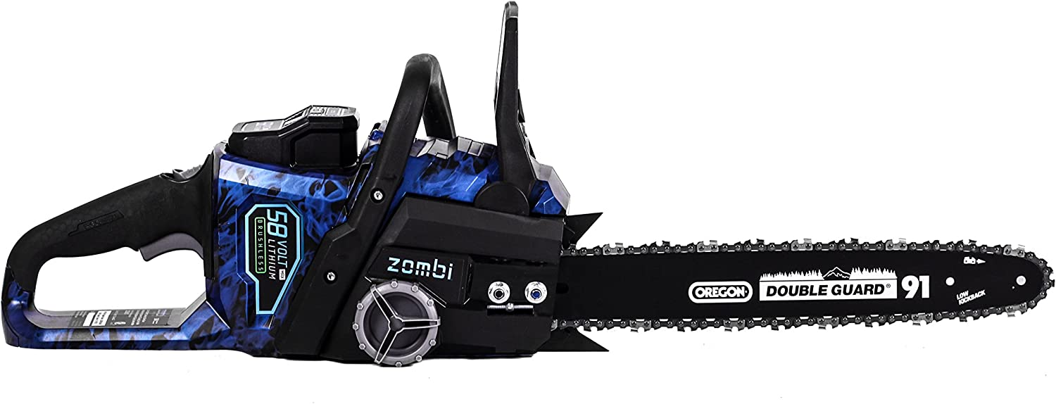 Zombi ZCS5817 16-Inch 58-Volt 4Ah Lithium Cordless Electric Chainsaw with Oregon Bar Chain, Battery Charger Included