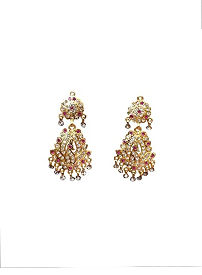 Buy Beauty Plus Collection Red Crystal Rajputi Earrings For Women