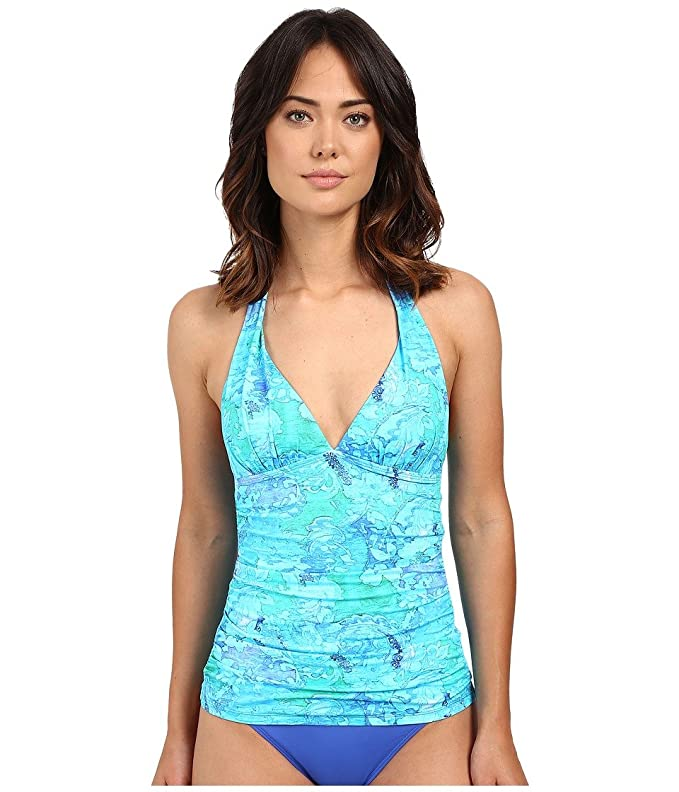 d61c7a606b Amazon.com  Lauren Ralph Lauren Women s Oceania Floral Halterkini w Molded  Cup Slimming Fit Blue Multi 16  Clothing