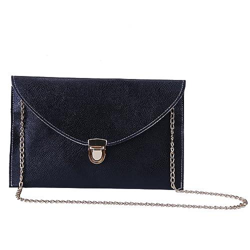 5ad522f7d06 HDE Women's Bright Crossbody Gold Chain Leather Evening Envelope Clutch  Purse: Handbags: Amazon.com