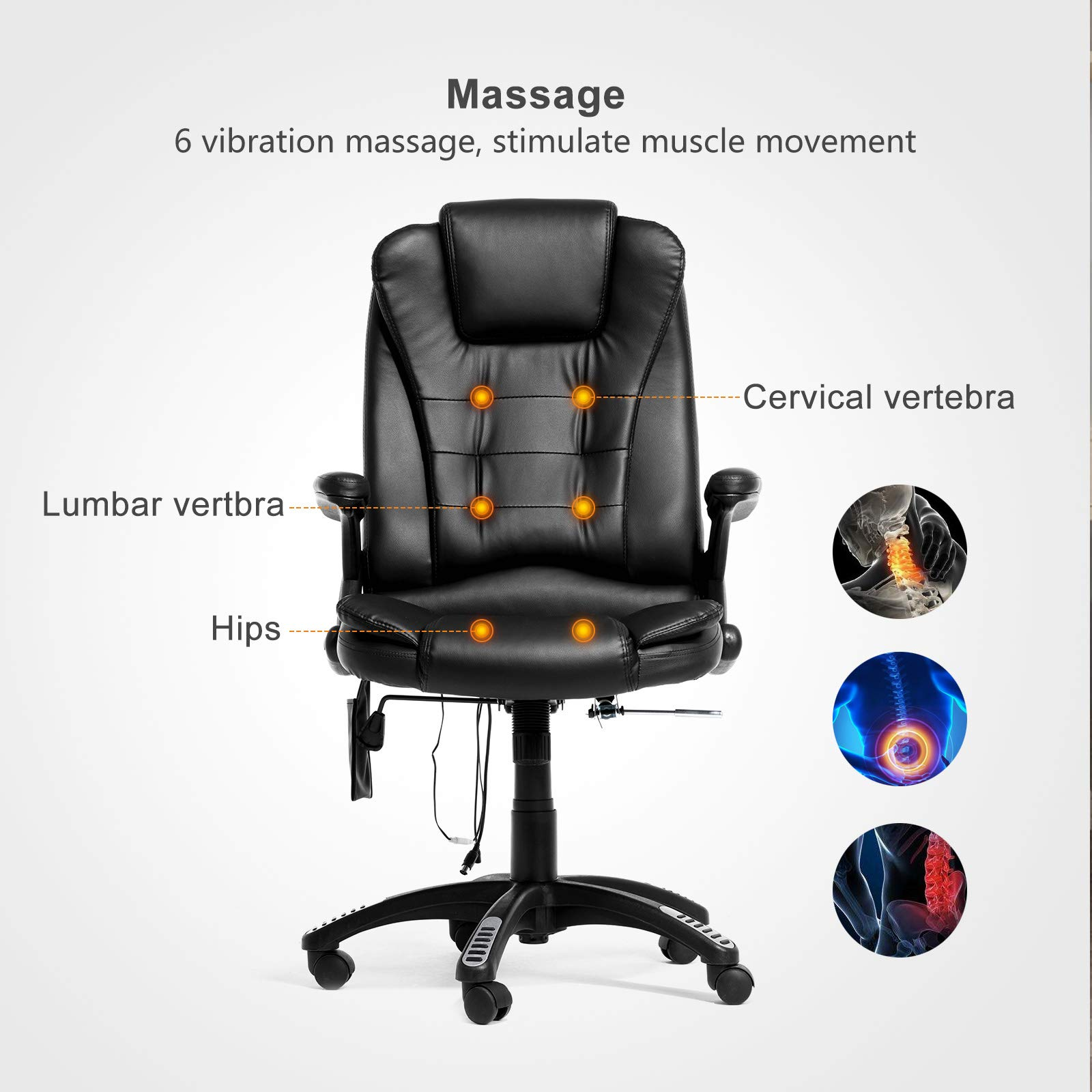 Mecor Heated Office Massage High-Back PU Leather Computer Chair w/360 Degree Adjustable Height & Armrest (Black) by Mecor (Image #3)
