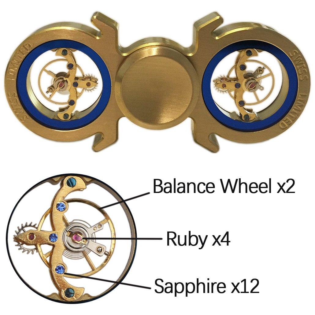 Brass Hand Spinner 6-9min, Fidget Spinner EDC Toy Metal Spinning Tops Gyro, Flywheel Limited Edition, Premium Bearing, Ultra Duarable (Brass 1 6+min)